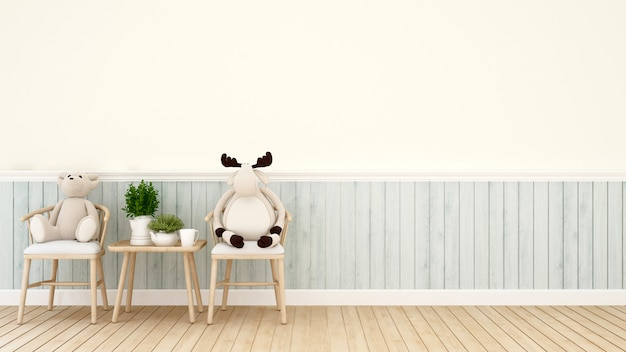 Orso e renna dell'orsacchiotto sulla sedia in salone o in caffetteria - rappresentazione 3d