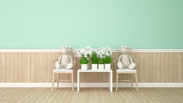 Orso gemello e fiore nella stanza verde - rappresentazione 3d