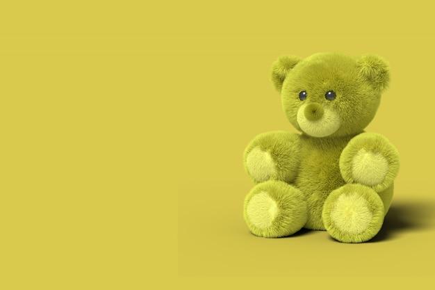 Orso giocattolo giallo è seduto sul pavimento. rendering 3d.