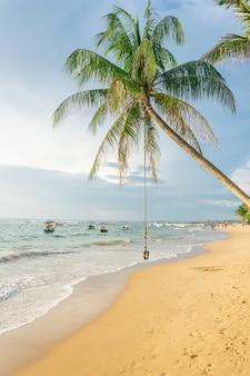 Oscillazione o bungee che appende su una palma sulla spiaggia contro lo sfondo dell'oceano e delle barche al tramonto, sri lanka