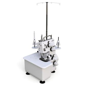 Overlock su uno sfondo bianco. attrezzature per la produzione di cucito. abbigliamento e tessuti per cucire. illustrazione 3d