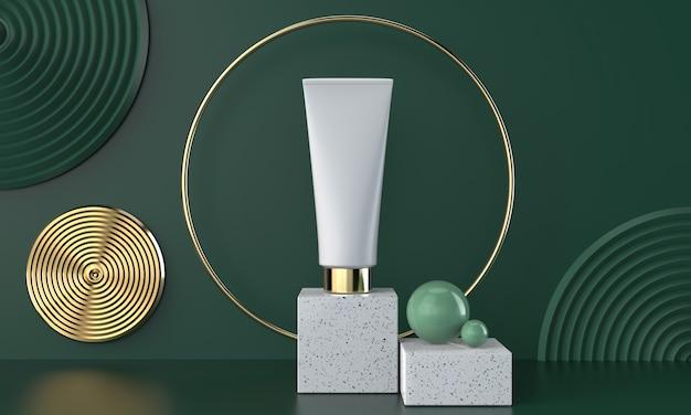 Pacchetto cosmetico naturale 3d su marmo con verde, illustrazione 3d.