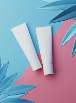 Pacchetto del prodotto dei contenitori di plastica in bianco bianco di bellezza cosmetica della rappresentazione 3d sul fondo di colori pastelli