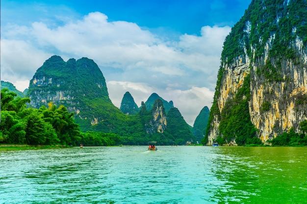 Paesaggi di bambù paesaggio blu bella mattina