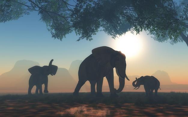 Paesaggio 3d con branco di elefanti