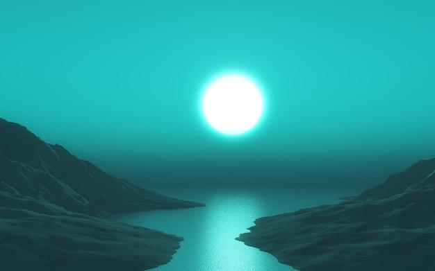 Paesaggio 3d con cielo verde al tramonto