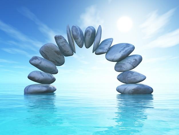 Paesaggio 3d con formazione di pietra nell'oceano tropicale