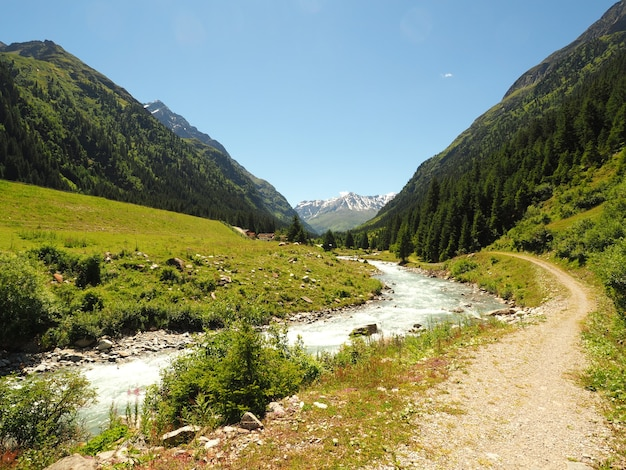 Paesaggio colpo del parco naturale adamello brenta strembo italia in un cielo blu chiaro