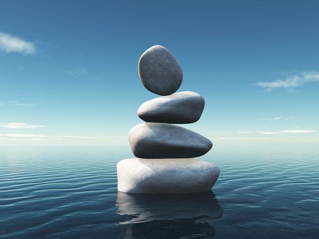Paesaggio con pietre miliari in equilibrio in un oceano