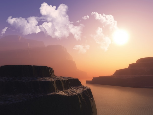 Paesaggio con scogliere nell'oceano contro un cielo al tramonto