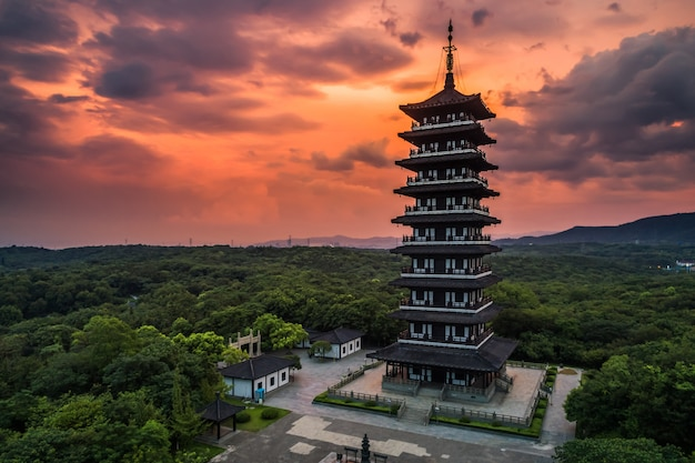 Paesaggio con tramonto a yixing