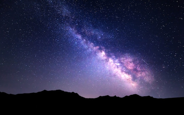 Paesaggio con via lattea. cielo notturno con stelle in montagna