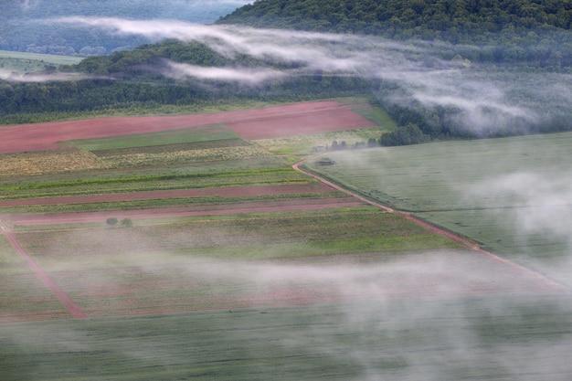 Paesaggio con vista a volo d'uccello. campi strada e nebbia