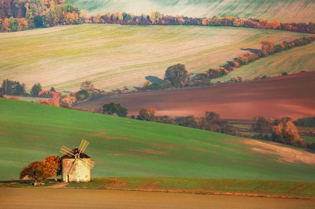 Paesaggio dei campi con il vecchio mulino a vento nella moravia del sud, repubblica ceca