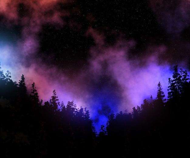 Paesaggio dell'albero di pino 3d contro un cielo dello spazio