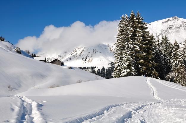 Paesaggio dell'alta savoia in inverno