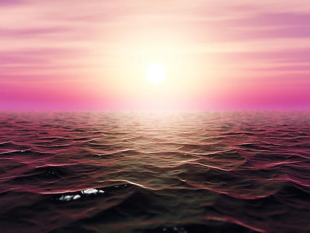 Paesaggio dell'oceano tempestoso 3d con profondità di campo
