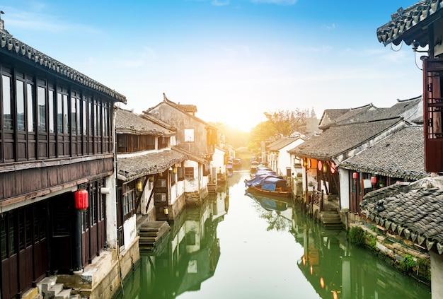 Paesaggio della città antica di zhouzhuang, suzhou, cina