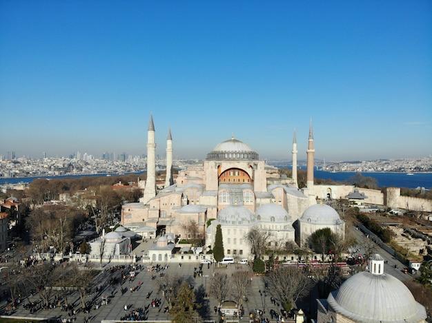 Paesaggio della città di istanbul in turchia della moschea aya sofia