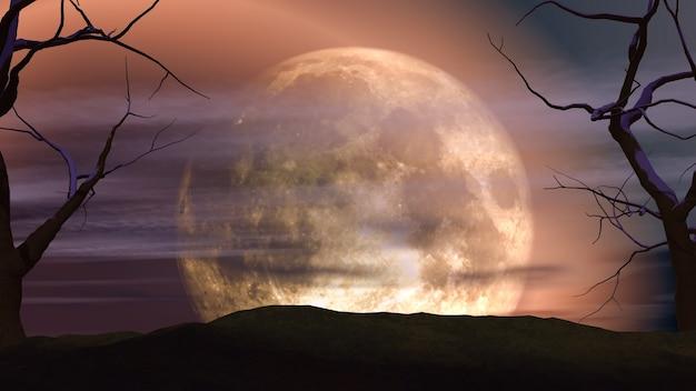 Paesaggio della luna 3d con alberi spettrali