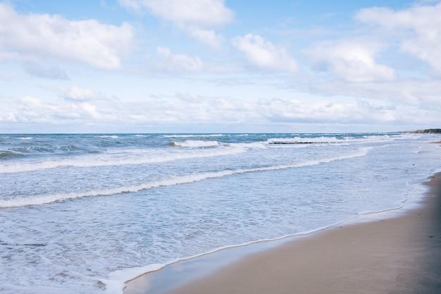Paesaggio della spiaggia del mar baltico con la sabbia e il gabbiano bianchi del mare blu. giornata di sole autunnale.