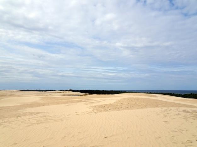 Paesaggio della spiaggia sabbiosa sotto un cielo nuvoloso blu a leba, polonia