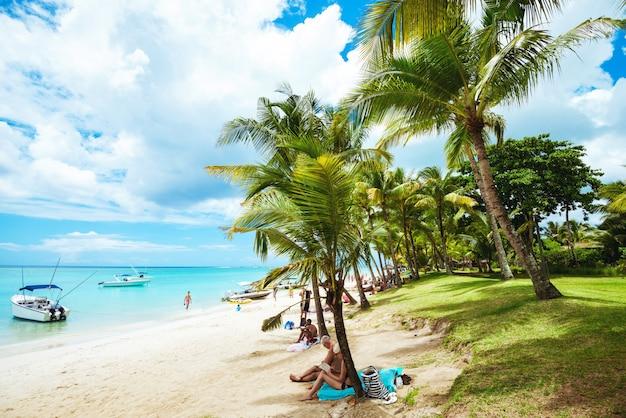Paesaggio della spiaggia tropicale con le palme e la vista meravigliosa