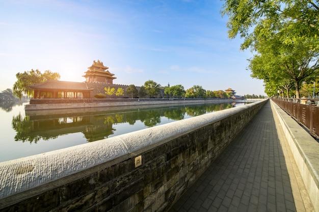Paesaggio della torre d'angolo del palazzo imperiale a pechino