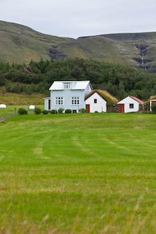 Paesaggio delle montagne con case islandesi bianche di raccordo