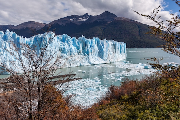 Paesaggio di autunno dei campi congelati ghiacciaio di perito moreno