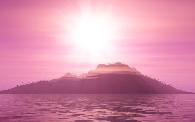 Paesaggio di montagna 3d al tramonto