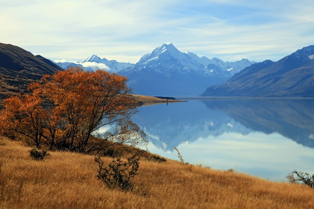 Paesaggio di montagna cook con la sua riflessione dal lago pukaki