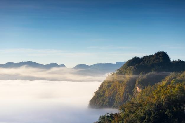 Paesaggio di montagna e nebbia mattutina.