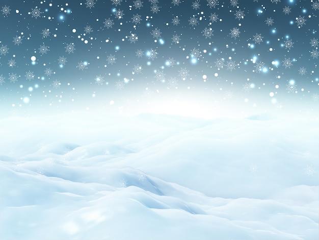 Paesaggio di neve di natale 3d