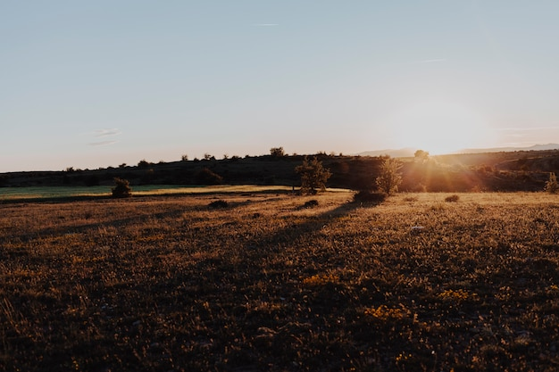 Paesaggio di un tramonto in una giornata limpida