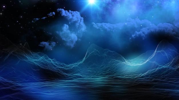Paesaggio digitale 3d su sfondo immaginario cielo spaziale