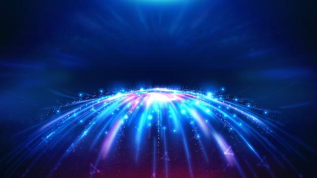 Paesaggio e tecnologia futuristica di blockchain digitale fintech.