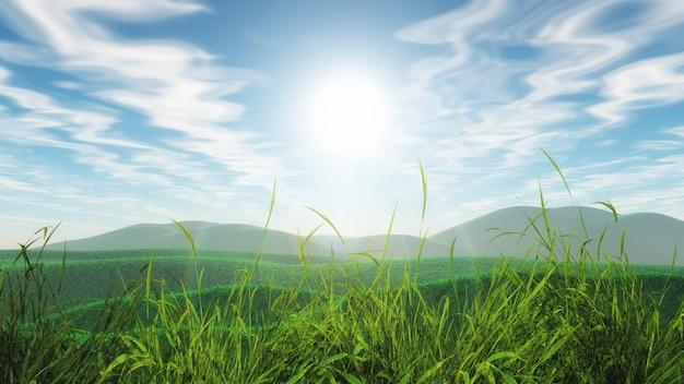 Paesaggio erboso 3d contro un cielo soleggiato blu