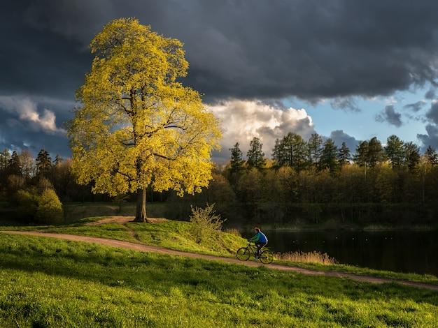 Paesaggio estivo con drammatica meteo e ciclista in movimento