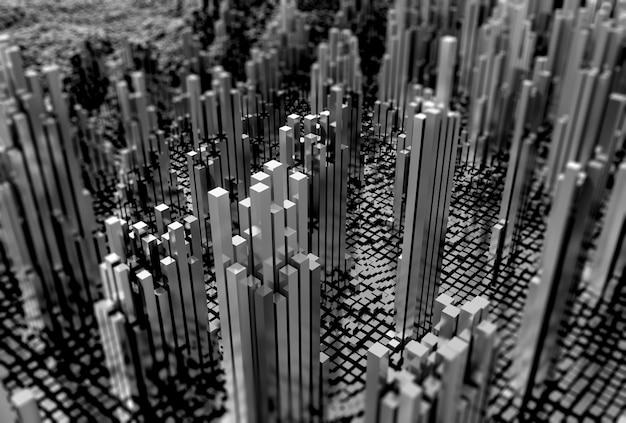 Paesaggio futuristico 3d di cubi lucidi in monotono