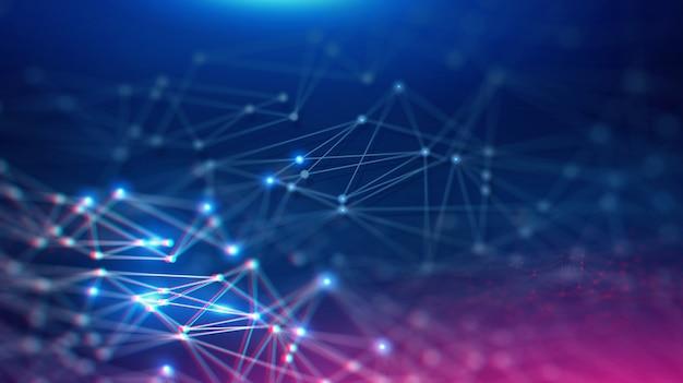 Paesaggio geometrico e tecnologia futuristica di blockchain digitale fintech.