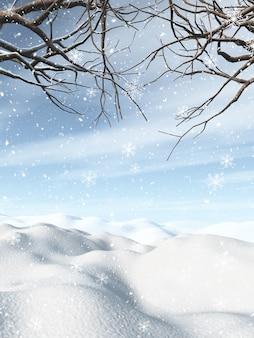 Paesaggio invernale 3d con alberi innevati