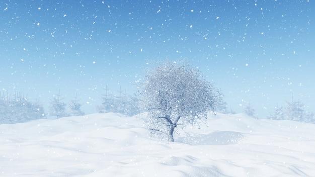 Paesaggio invernale 3d con albero innevato