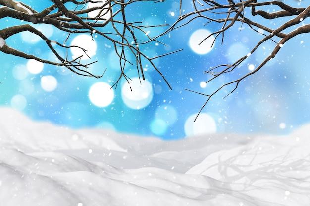 Paesaggio invernale 3d con la neve che cade