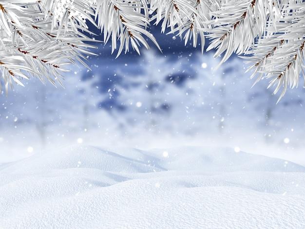 Paesaggio invernale 3d con rami di albero di natale