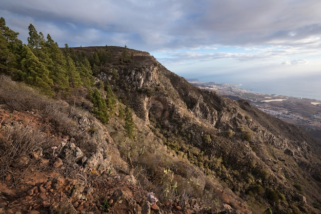 Paesaggio montano di tenerife. percorso trekking costa adeje e las americas