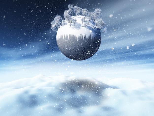 Paesaggio nevoso di natale 3d con gli alberi di inverno sul globo
