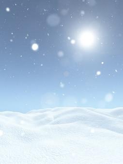 Paesaggio nevoso di natale 3d