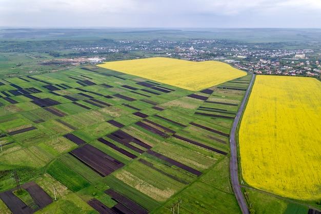 Paesaggio rurale in primavera o in estate. vista aerea di campi verdi, arati e in fiore, tetti delle case e una strada all'alba soleggiata. fotografia di droni.