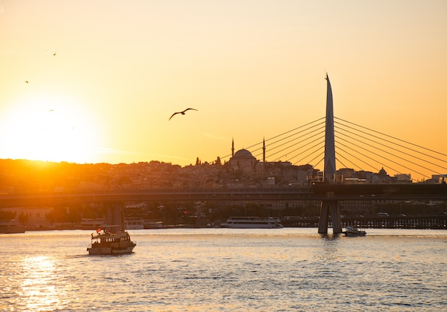 Paesaggio soleggiato di estate a costantinopoli sul tramonto. stretto attraverso il bosforo con vista sulla moschea blu.